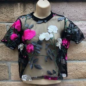 Tops - Sheer Floral Crop Top